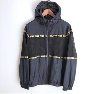 PINK Victoria's Secret Black Bomber Jacket Mesh